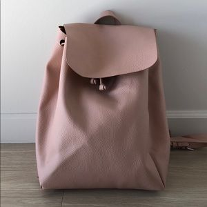 Zara pale pink leather back pack